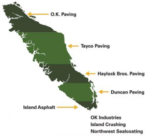 Vancouver Island map with locations