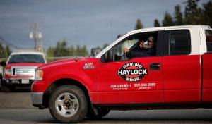 Haylock Paving logo on pickup truck
