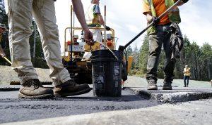 asphalt paver crew