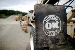 OK Paving logo on trailer mudflap