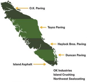 Vancouver Island map showing locations